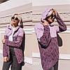 Кардиган женский теплый стильный модный двухцветный с капюшоном объемная вязка Pdi127