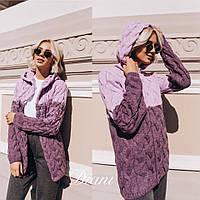 Кардиган женский теплый стильный модный двухцветный с капюшоном объемная вязка Pdi127, фото 1