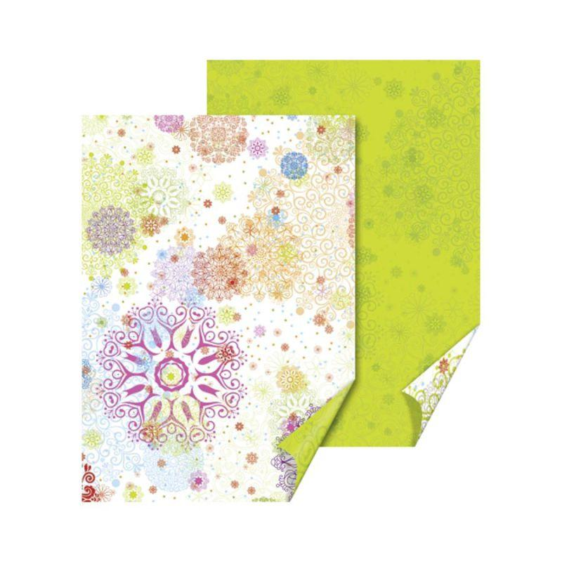 "Бумага с рисунком ""Кристалл"", А4 (21*29,7 см), двусторонняя, Зеленая, 300 г/м2, Heyda"