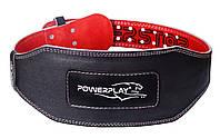 Пояс атлетичний PowerPlay 5053 Чорний-Червоний [натуральна шкіра] XL
