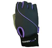 Рукавички для фітнесу PowerPlay 1725 A Чорний-Фіолетовий M