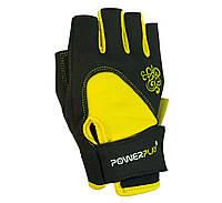 Рукавички для фітнесу PowerPlay 1728 D Жовтий-Чорний XS