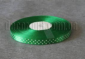 Лента атласная зеленая с горохом 1 см 50 м