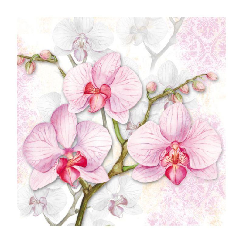 """Декупажные салфетки """"Орхидея"""", 33*33 см, 18,5 г/м2, Abiente"""