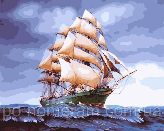 Раскраска для взрослых Парусник на волнах (BRM25149) 40 х ...