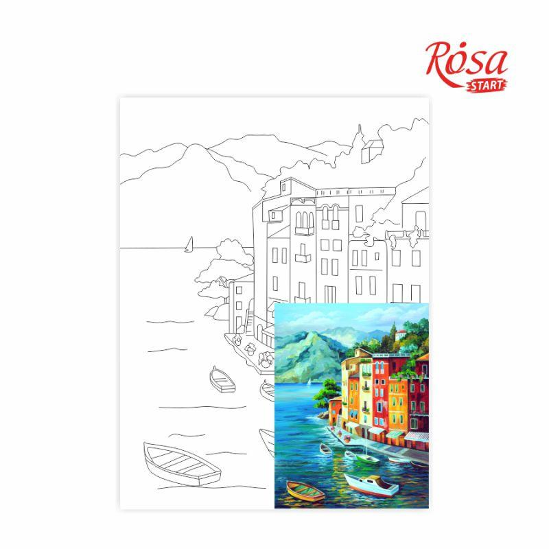 Холст на картоне с контуром, Морские пейзажи № 1, 30*40, хлопок, акрил, ROSA START