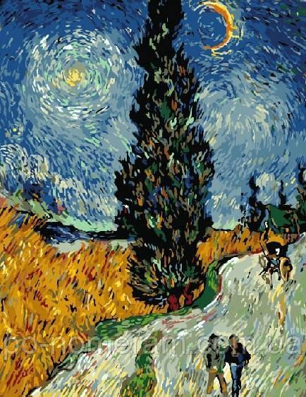 Картина по номерам Ван Гог Дорога с кипарисом и звездой ...