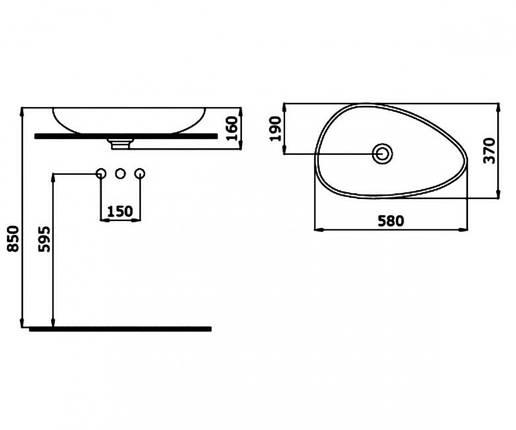 Раковина накладная 58 см BOCCHI ETNA 1114-005-0125, фото 2