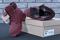 Зимние женские ботинки Timberland Boots темно-бордовые натуральный мех (реплика), фото 1