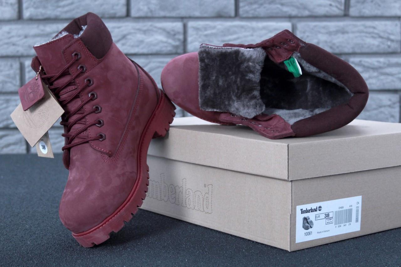 Зимние женские ботинки Timberland Boots темно-бордовые натуральный мех (реплика)