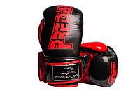 Боксерські рукавиці PowerPlay 3017 Чорно-червоні PU карбон карбон 16 oz, фото 1