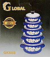 Набор Эмалированных кастрюль GLOBAL 5 штук со стеклянной крышкой (Синий)