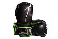 Боксерські рукавиці PowerPlay 3018 Чорно-зелені PU 12 oz, фото 1