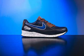 Кросівки Yuves REX (синьо-коричневі, кожа, 32-39, підросткове взуття)