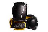Боксерські рукавиці PowerPlay 3018 Чорно-жовті PU 14 oz, фото 1