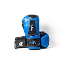 Боксерські рукавиці Power Play 3020 Синьо-чорні [натуральна шкіра] + PU 16 oz, фото 1