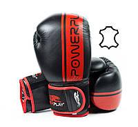 Боксерські рукавиці PowerPlay 3022 Чорно-червоні [натуральна шкіра] 16 oz, фото 1