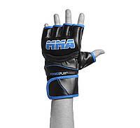 Рукавиці для MMA PowerPlay 3055 Чорно-блакитні PU M, фото 1