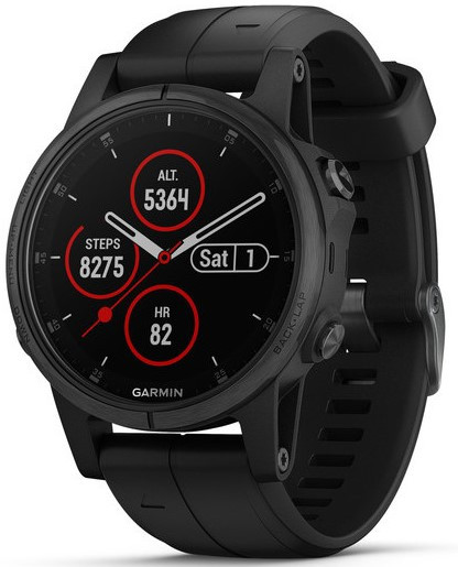 Смарт-годинник Garmin fenix 5S Plus Sapphire, Black with Black Band