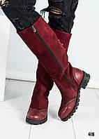 "Сапоги женские в стиле ""Оксфорд"" цвета марсала, фото 1"