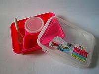 Контейнер для еды, ланч-бокс с секциями и отделением для супа РОЗОВЫЙ цвет