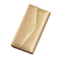 Жіночий гаманець золотистий потрійного складання з екошкіри на кнопці опт, фото 1