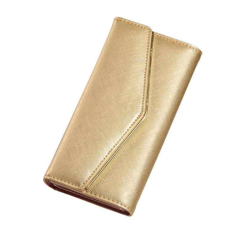d059cd32c296 Женский кошелек золотистый тройного сложения из экокожи на кнопке опт