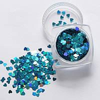 Декор для ногтей Сердечки голубые