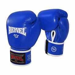 Боксерские перчатки Reyvel 16oz синие кожа