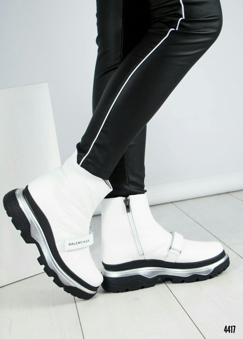 "Ботинки женские зима  с логотипом ""B@lenci@ga"" белые"
