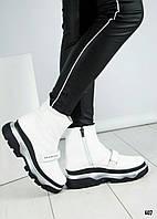 """Ботинки женские зима  с логотипом """"B@lenci@ga"""" белые, фото 1"""