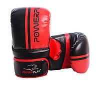 Снарядні рукавиці PowerPlay 3025 Чорно-червоні PU L, фото 1