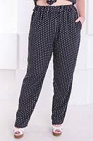 Летние женские брюки большой размер Сомали черный в горох (52-58) e7e73c2284187