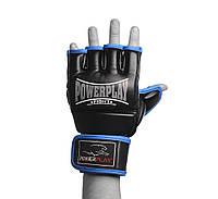 Рукавиці для MMA PowerPlay 3058 Чорно-сині PU M, фото 1