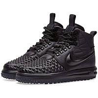 Высокие мужские кроссовки NIKE LUNAR FORSE 1 DUCKBOOT ALL Black Черные