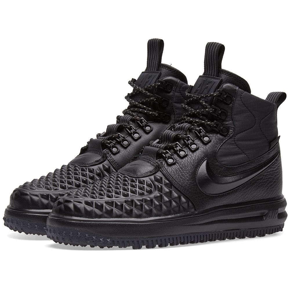 e7b4e11c Высокие мужские кроссовки NIKE LUNAR FORSE 1 DUCKBOOT ALL Black Черные