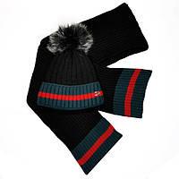 Женский комплект набор вязаная шапка с бубоном и шарф Gucci черный  качественный модный теплый Гуччи реплика 81dab5937cf76