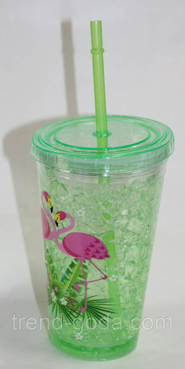 Термо-стакан пластик с крышкой и трубочкой, салатовый, рисунок фламинго