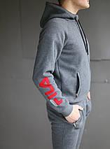 Спортивный зимний костюм с капюшоном мужской Fila на флисе , фото 3