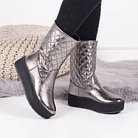 Женские  зимние  ботинки  серебро натуральная кожа, фото 1