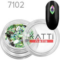 KATTi Стразы в банке акрил фигурные 7102 horse-eye 3x6mm Light Green AB 50шт
