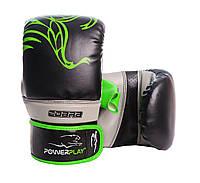 Снарядні рукавиці PowerPlay 3038 Чорно-зелені PU L, фото 1