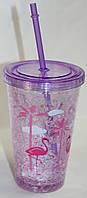 Термо-стакан пластик с крышкой и трубочкой, фиолетовый, рисунок фламинго, фото 1