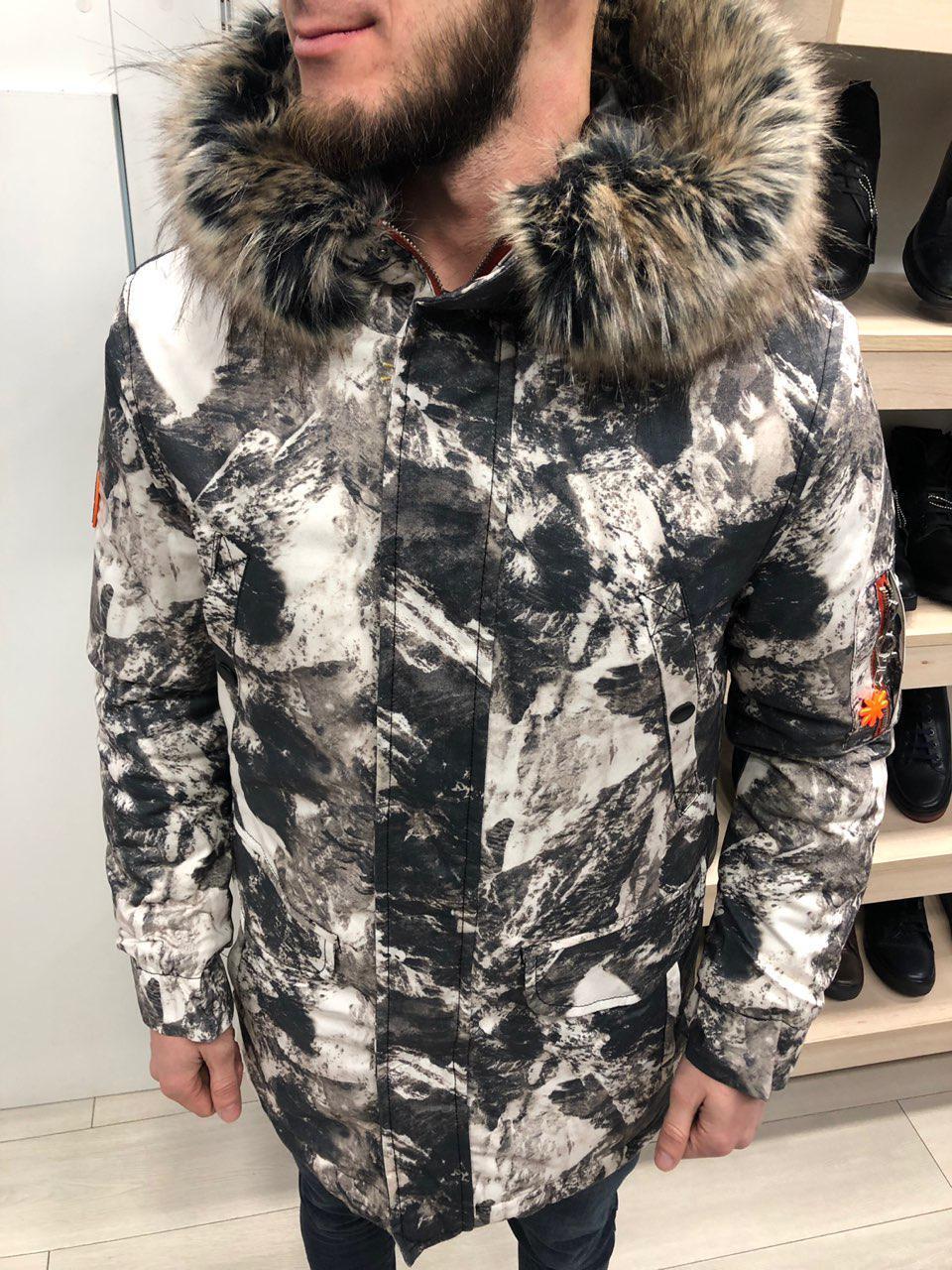 Мужская зимняя парка с отстегивающимся мехом снежный камуфляж
