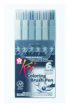 Набор маркеров Koi Coloring Brush Pen, GRAY 6цв., Sakura