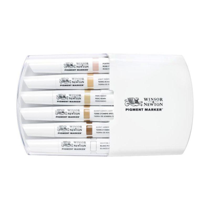 Набор двухсторонних маркеров, Pigment marker, Телесные тона, 6 шт, W&N