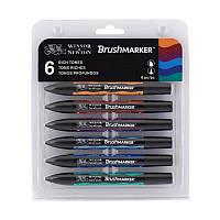 Набор двухсторонних маркеров, Brushmarker, Сочные тона, 6 шт, W&N