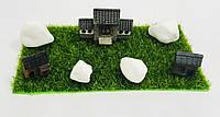 """Комплект миниатюрных декораций """"Храм Будды"""" для муравьиной фермы (4 декорации + белые камни)"""