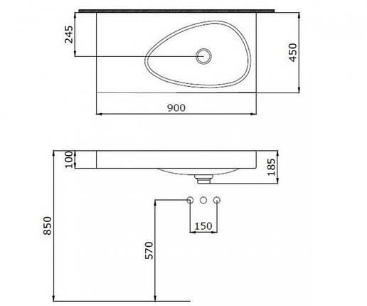 Раковина  900 мм BOCCHI ETNA 1115-001-0125, фото 2