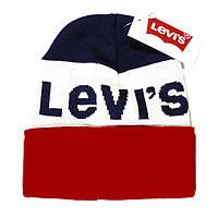 Молодежная мужская вязаная шапка Levi's красная шерстяная фирменная шапочка зима теплая Левис люкс реплика
